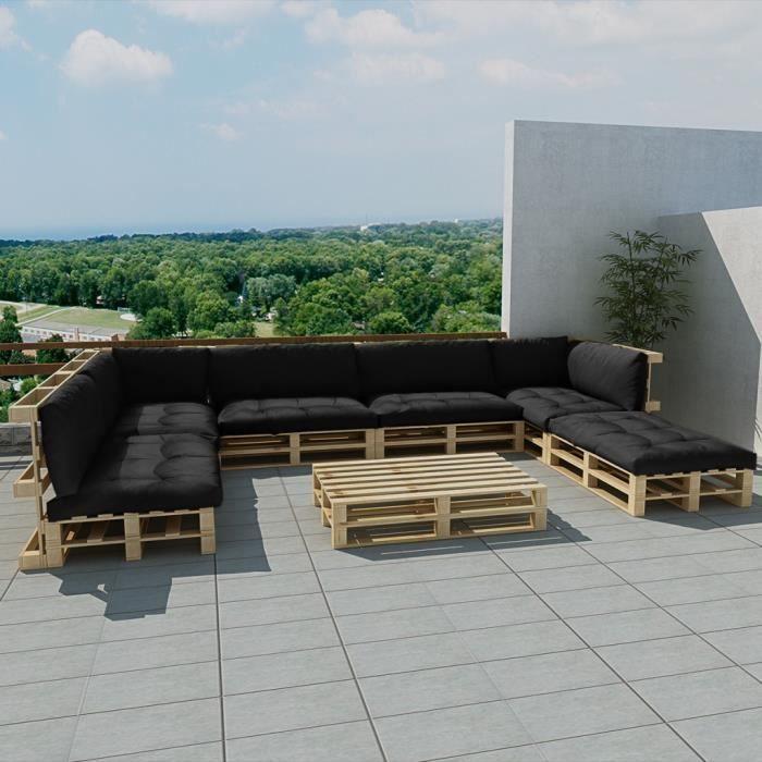 salon de jardin 21 pcs en palette coussins gris maja. Black Bedroom Furniture Sets. Home Design Ideas