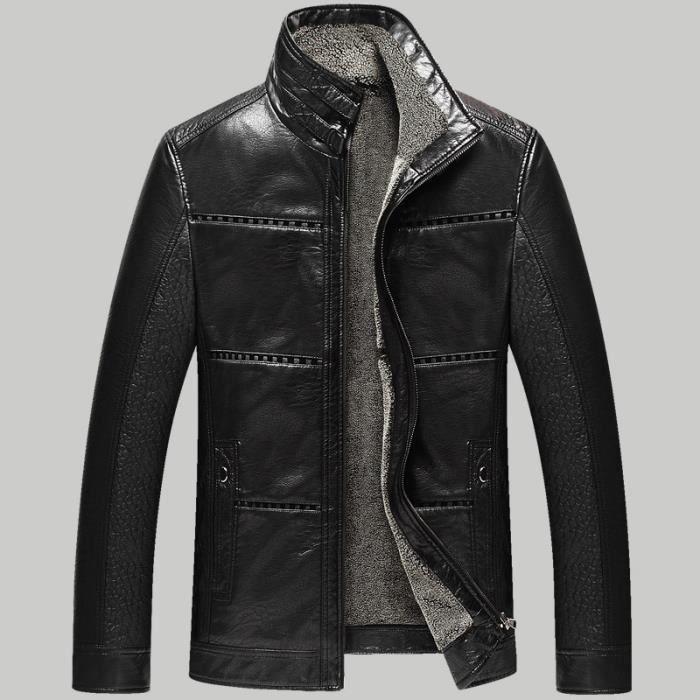 blouson en pu cuir homme hiver manteau fourrure noir. Black Bedroom Furniture Sets. Home Design Ideas