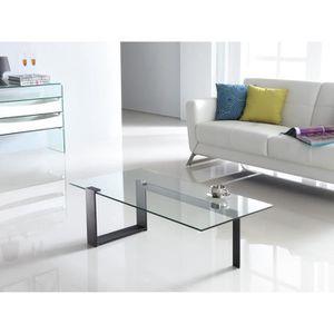 Table basse verre et acier achat vente table basse verre et acier pas cher les soldes sur - Cdiscount table basse en verre ...