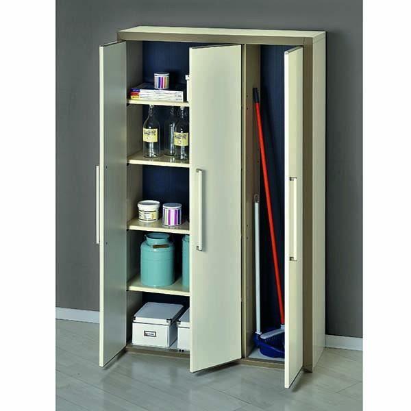 Abris en pvc armoire haute modulable en resine 3 portes for Armoire modulable