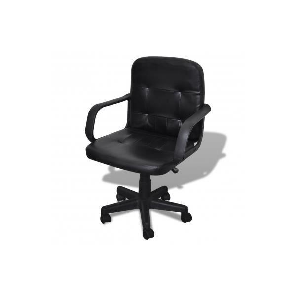 Fauteuil de bureau en cuir qualit noir 59 x 51 x 81 89 cm - Fauteuil de bureau confort ...