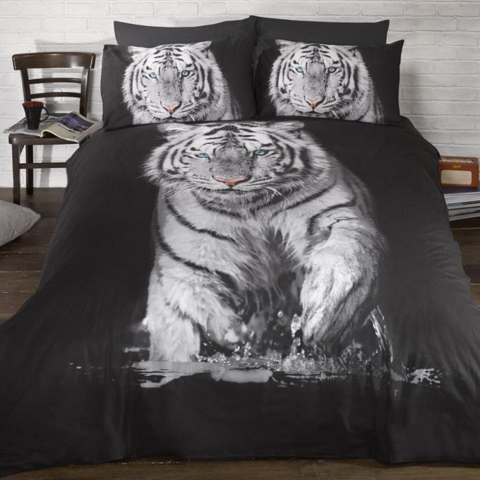 parure de lit tigre king housse de couette 230x220 achat vente housse de couette cdiscount. Black Bedroom Furniture Sets. Home Design Ideas