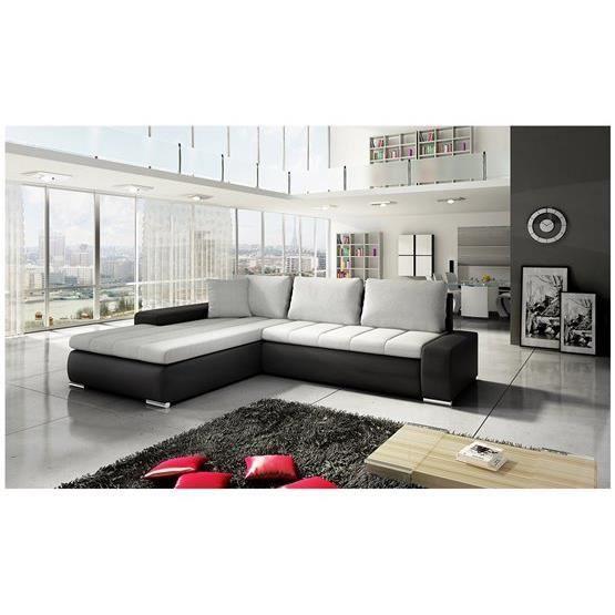 canap d 39 angle convertible viviane i gris clair et noir. Black Bedroom Furniture Sets. Home Design Ideas