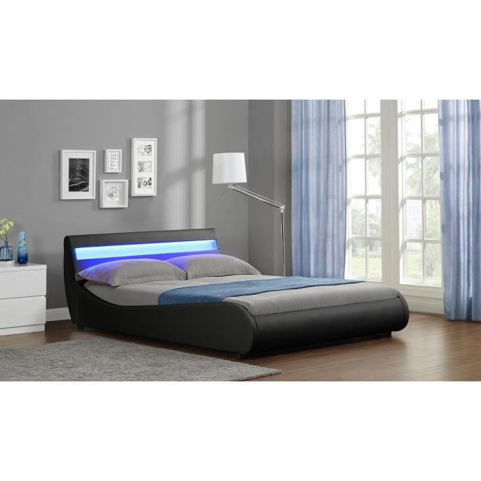moon lit a led noir 140x190 achat vente lit complet moon lit a led noir 140x190 cdiscount. Black Bedroom Furniture Sets. Home Design Ideas