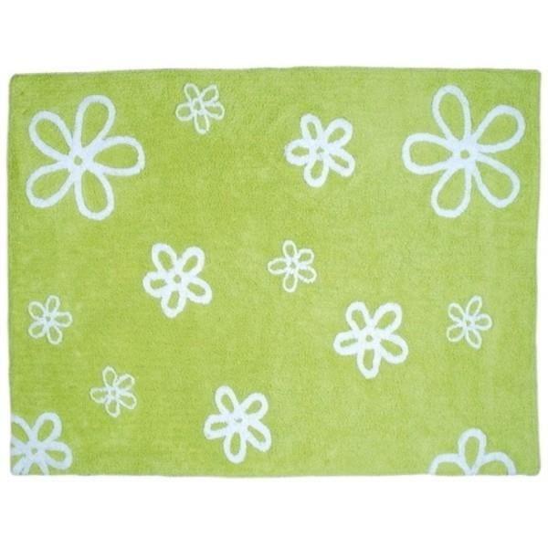 tapis de sol enfant 120x160 cm pistache fleurs blanches. Black Bedroom Furniture Sets. Home Design Ideas