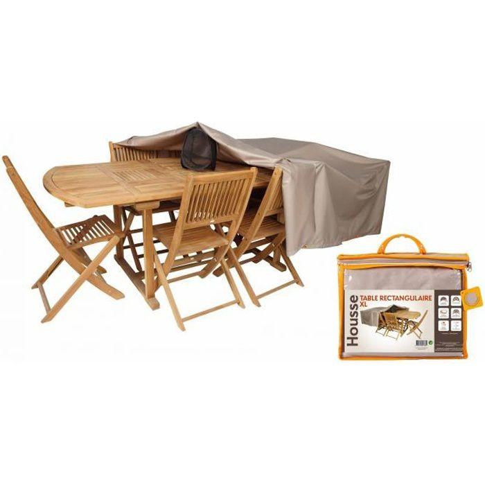 Housse table de jardin rectangulaire 240 x 130 cm achat vente housse meuble jardin housse for Housse de table de jardin en resine