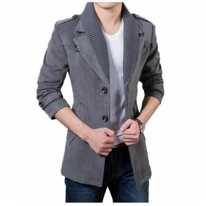 laine manteau hommes marque casual hommes veste d 39 hiver cachemire manteau chaud tranch e. Black Bedroom Furniture Sets. Home Design Ideas
