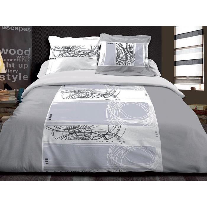 housse de couette 220x240 2 taies pur coton 57 fils achat vente parure de couette cdiscount. Black Bedroom Furniture Sets. Home Design Ideas
