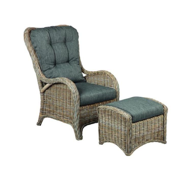 fauteuil en rotin gris avec repose pieds achat vente fauteuil gris cdiscount. Black Bedroom Furniture Sets. Home Design Ideas