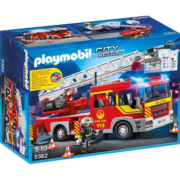 UNIVERS MINIATURE PLAYMOBIL 5362 Camion Pompier Échelle Sirène