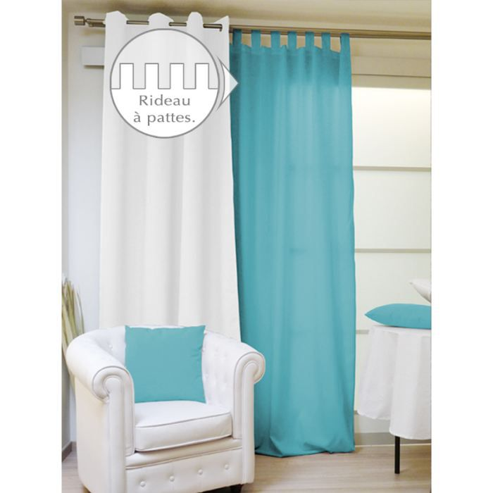 rideau a pattes 140x250 alix turquoise achat vente rideau 100 polyester cdiscount. Black Bedroom Furniture Sets. Home Design Ideas