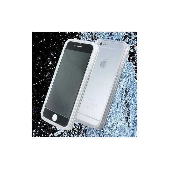 coque etanche iphone 6 6s en silicone transparent noir avec fonction touch id achat coque. Black Bedroom Furniture Sets. Home Design Ideas