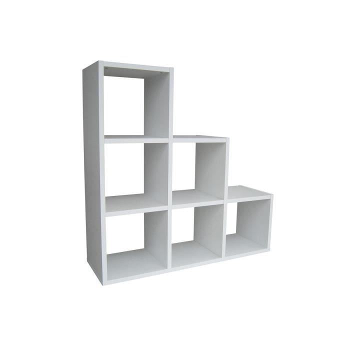 Escalier de rangement 6 cases blanc cazy achat vente for Meuble 6 cases blanc