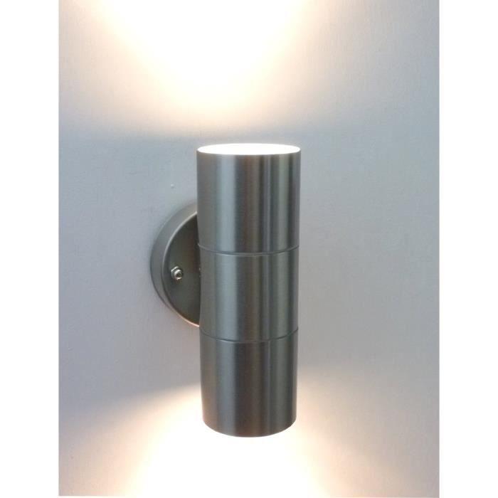 6w led haut et bas applique murale acier inoxydable double for Applique murale exterieur etanche
