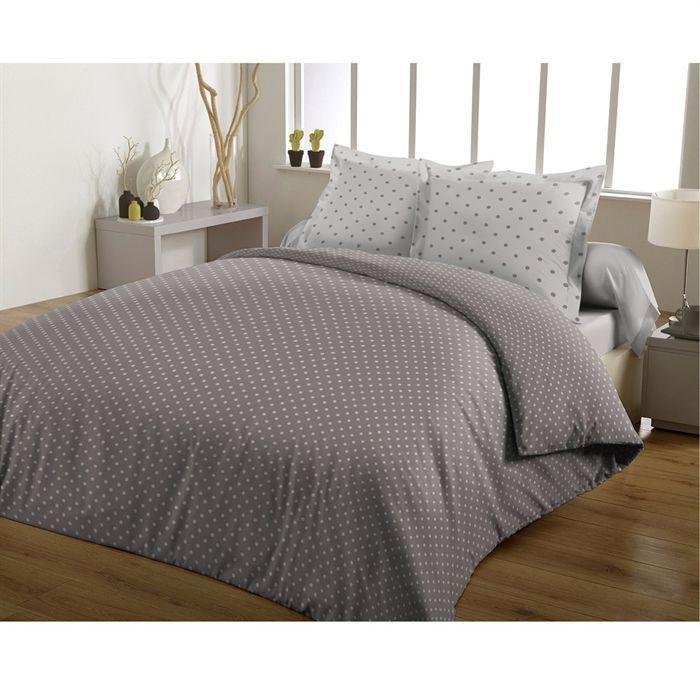 casatxu housse 220x240cm 2 taies pois gris taupe achat vente parure de couette cdiscount. Black Bedroom Furniture Sets. Home Design Ideas