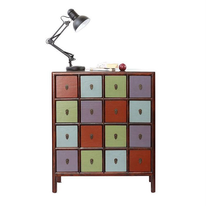 commode bois multicolore mosaica achat vente commode semainier cdiscount. Black Bedroom Furniture Sets. Home Design Ideas