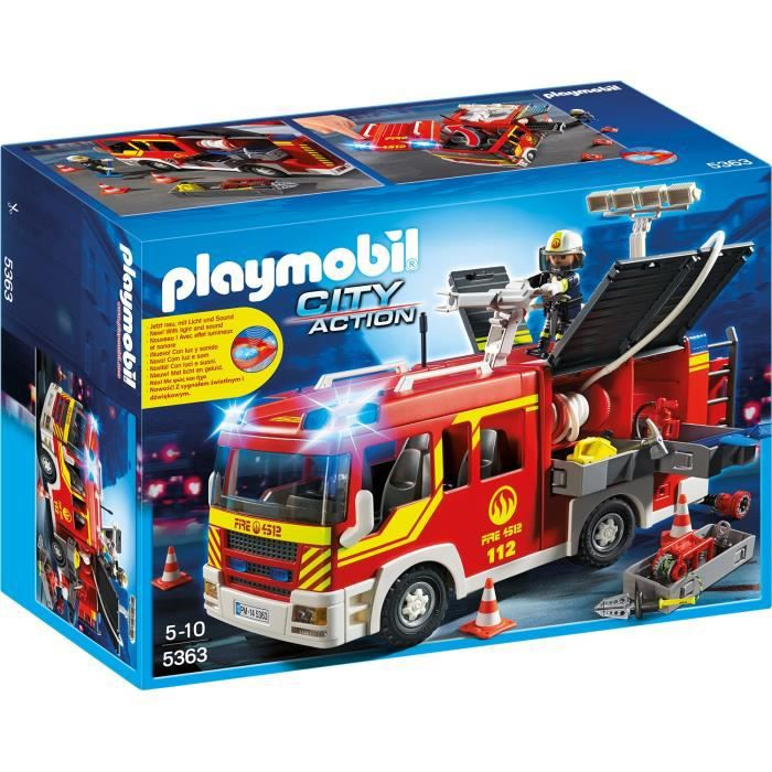 Playmobil 5363 fourgon pompier gyrophare achat vente univers miniature cdiscount - Playmobil camion ...