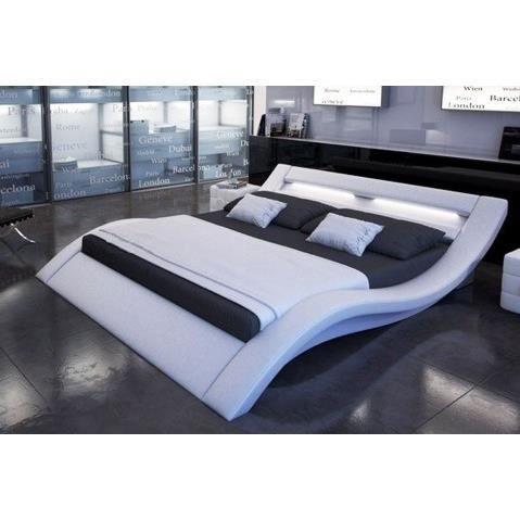Lit design furtado ii led blanc 200x200 cm achat vente structure de lit l - Lit 2 personnes cdiscount ...
