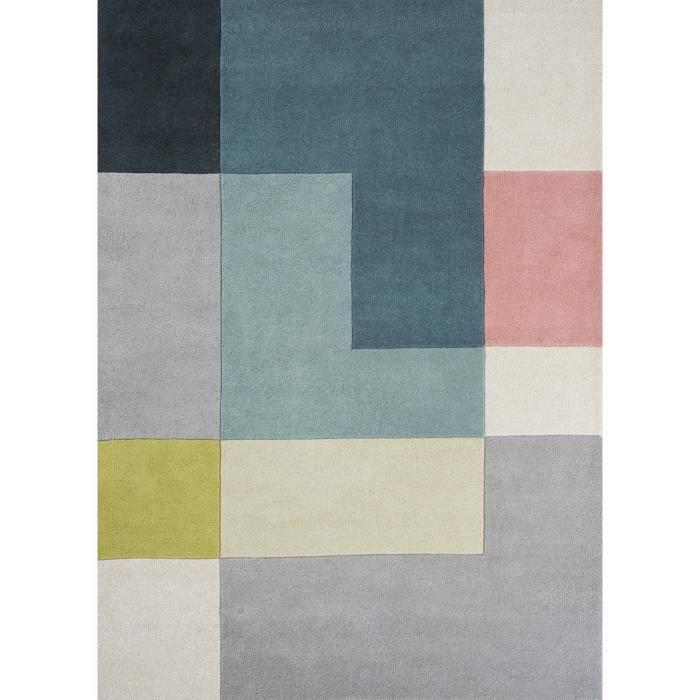 tapis pour salon motifs geometriques tetris jaune 140x200 par unamourdetapis tapis moderne. Black Bedroom Furniture Sets. Home Design Ideas