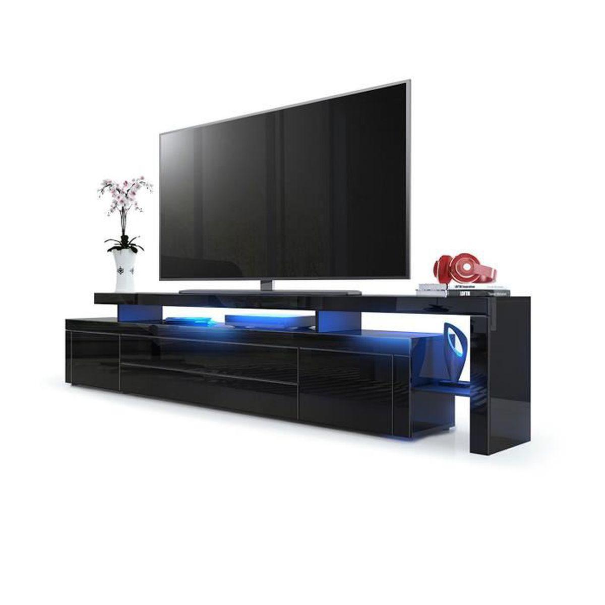 ... LED 227 cm - Achat / Vente meuble tv Meuble TV bas en Noir haute