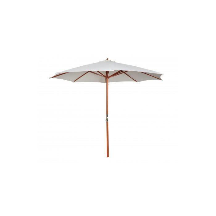 parasol sur pied toile blanche bois 258 cm achat vente parasol parasol sur pied toile. Black Bedroom Furniture Sets. Home Design Ideas