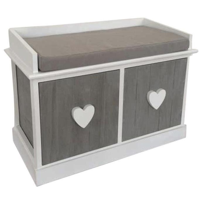 banc avec tiroirs en bois gris achat vente banc cdiscount. Black Bedroom Furniture Sets. Home Design Ideas