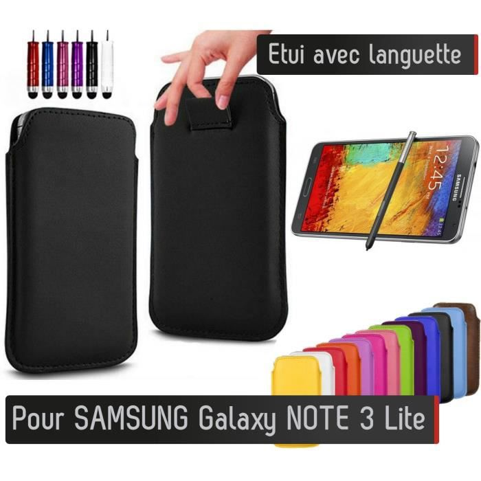 pull up samsung galaxy note 3 lite blanc etui housse protection couleurs achat housse. Black Bedroom Furniture Sets. Home Design Ideas