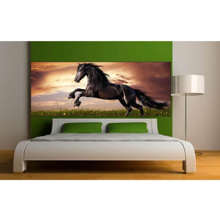 Stickers t te de lit d co chambre cheval dimensions for Decoration chambre tete de lit