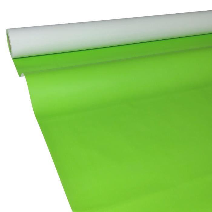 Nappe en papier 50m x 1 00m en vert pomme tanche achat for Nappe et chemin de table en papier