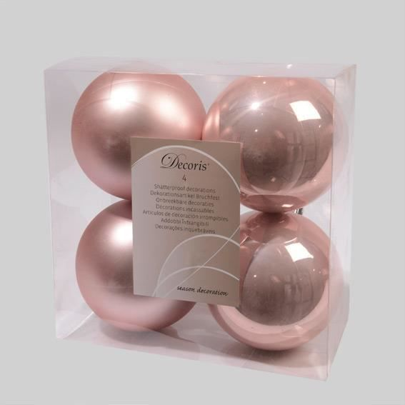 lot de 4 boules de no l d100 mm alpine rose poudr achat vente boule de no l cdiscount. Black Bedroom Furniture Sets. Home Design Ideas