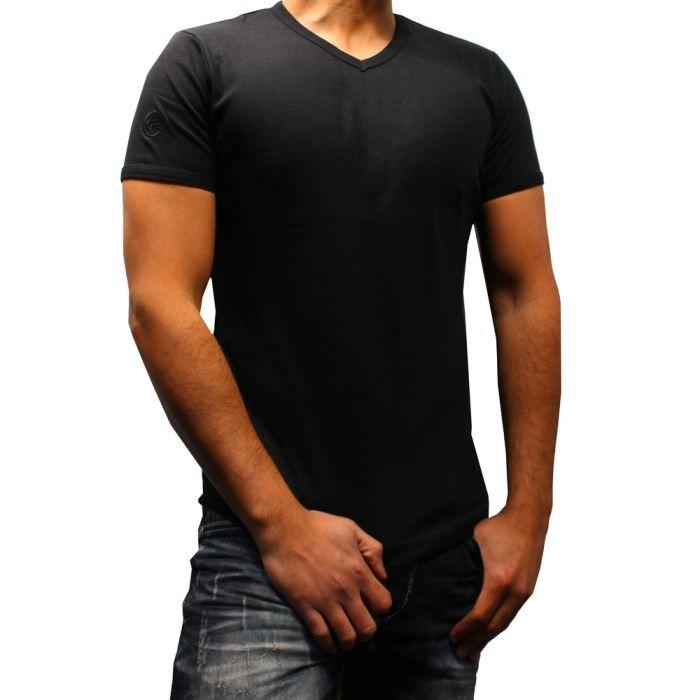 homme t shirt col v noir fashion e noir noir achat vente t shirt cdiscount. Black Bedroom Furniture Sets. Home Design Ideas