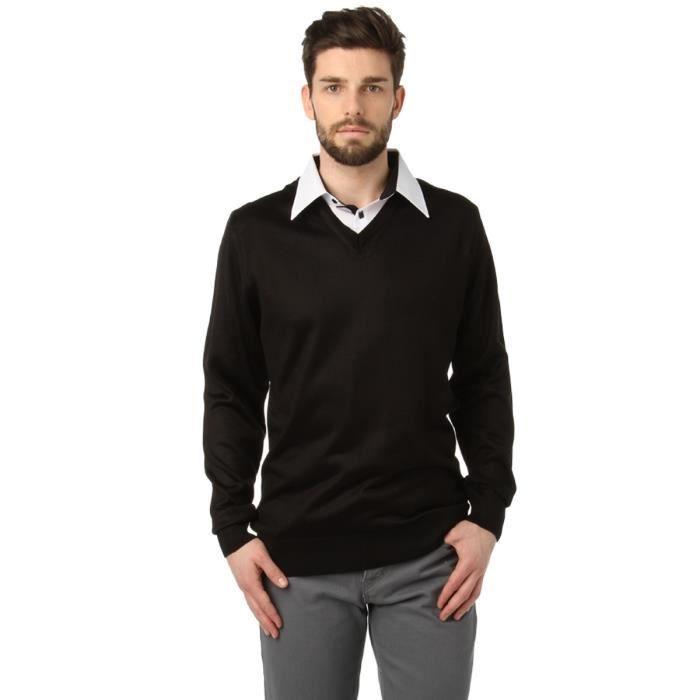 pull faux col chemise noir noir achat vente pull pull faux col chemise cdiscount. Black Bedroom Furniture Sets. Home Design Ideas