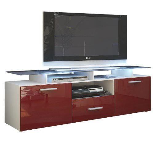 Meuble tv blanc mat et bordeaux laqu avec led 146 cm for Meuble bordeaux