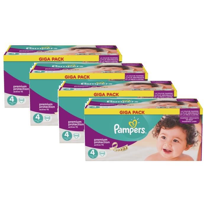 pampers active fit taille 4 maxi 7 18kg giga pack 400 couches achat vente couche. Black Bedroom Furniture Sets. Home Design Ideas