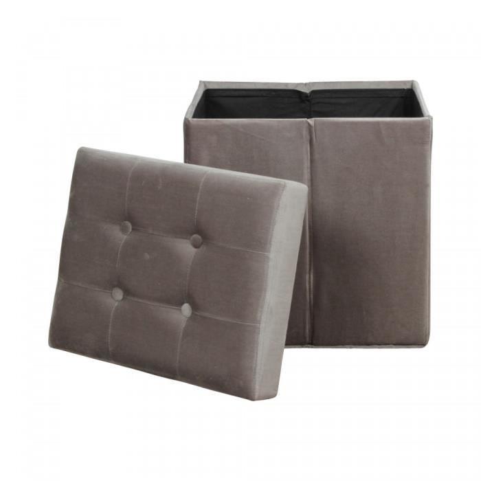 pouf de rangement pliant en velours capitonne gris versailles achat vente pouf poire. Black Bedroom Furniture Sets. Home Design Ideas