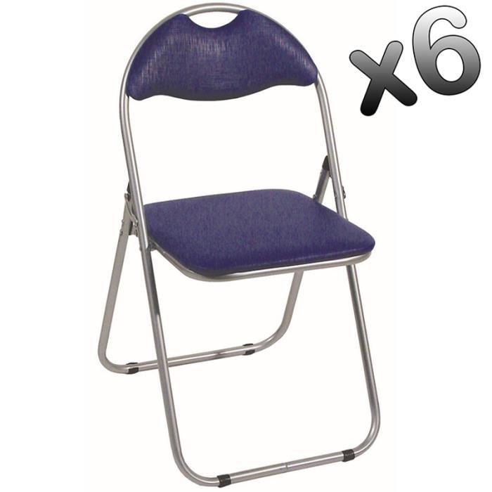 lot de 6 chaises pliante en tube d 39 acier coloris alu bleu dim l44 x p47 x h80 cm achat. Black Bedroom Furniture Sets. Home Design Ideas