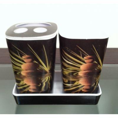 Pot de salle de bain zen couleur noir achat vente porte accessoire m lamine cdiscount for Couleur salle de bain zen