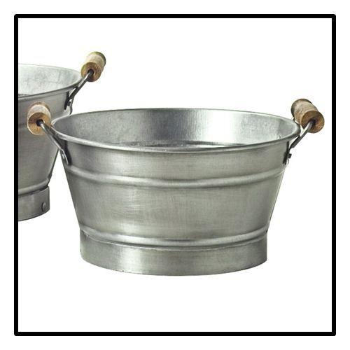 Cache pots vasque poign es acier diam 23 cm achat vente jardini re pot fleur cache for Jardiniere vasque jardin