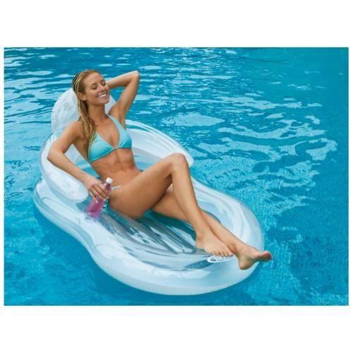 Matelas fauteuil de piscine glossy intex achat vente for Fauteuil gonflable piscine intex