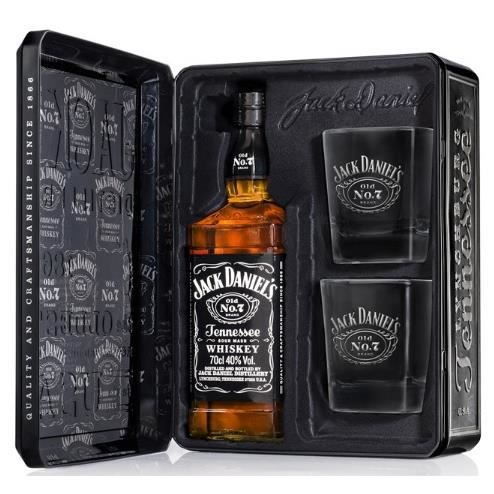 whisky jack daniel 39 s coffret metal 2 verres achat vente whisky jack daniel 39 s coffr cdiscount. Black Bedroom Furniture Sets. Home Design Ideas