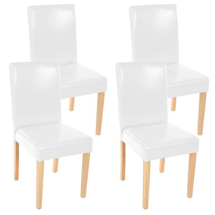 Lot de 4 chaises de salle manger avec pieds en bois massif fauteuil en cuir littau blanc - Chaises fauteuil salle a manger ...