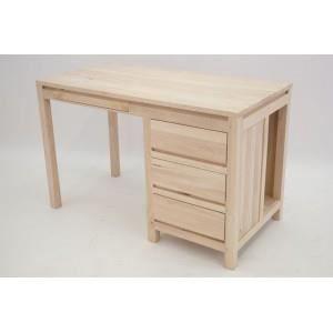 Bureau en bois brut cir 4 tiroirs en colonne le bureau for Colonne bureau