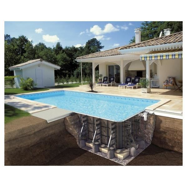 Piscine ppp rectangulaire 9x4 5x1 50m filtration soliflow for Piscine bois 9x4