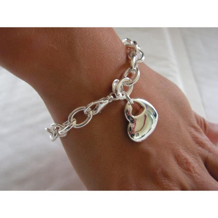 bracelet chaine pendentif coeur argent 925 achat vente bracelet gourmette bracelet chaine. Black Bedroom Furniture Sets. Home Design Ideas