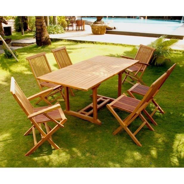 Magnifique salon de jardin teck 6 rectangle table for Salon de jardin 2 personnes