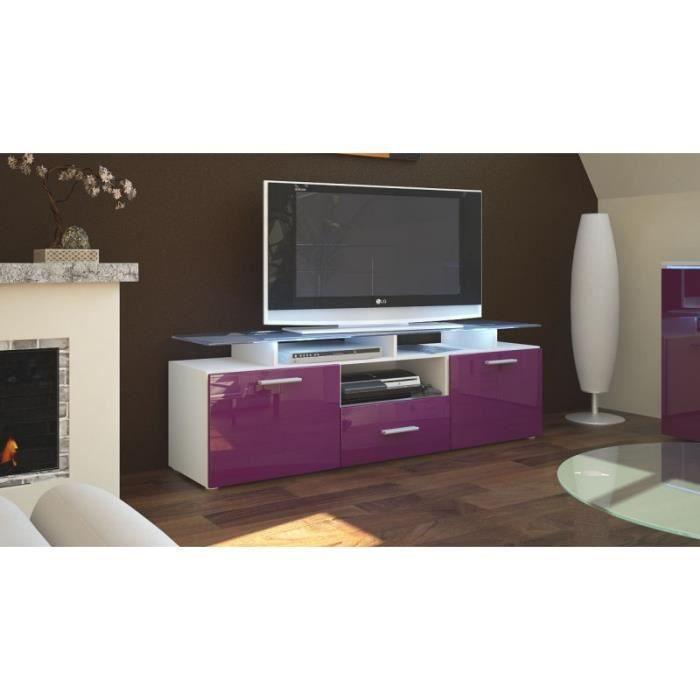 meuble tv laqu blanc et m re avec led 146 cm achat vente meuble tv meuble tv laqu blanc et. Black Bedroom Furniture Sets. Home Design Ideas