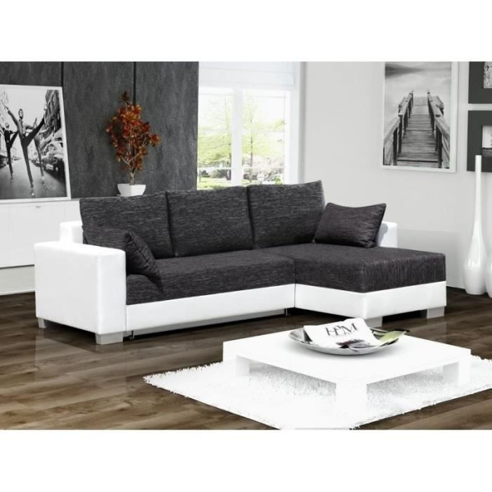 canap angle convertible en tissu et simili cuir t achat vente canap sofa divan tissu. Black Bedroom Furniture Sets. Home Design Ideas