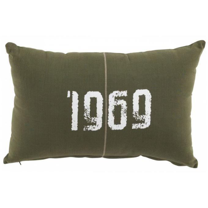 coussin en coton kaki 1969 achat vente coussin cdiscount. Black Bedroom Furniture Sets. Home Design Ideas