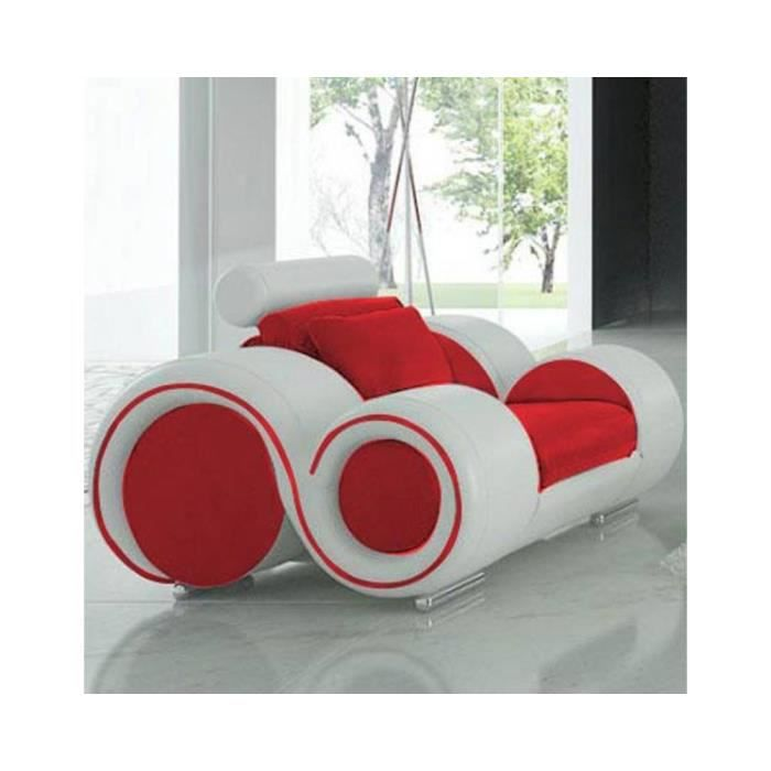 fauteuil cuir design fresno assise rouge c t b achat vente fauteuil cuir pvc synth tique. Black Bedroom Furniture Sets. Home Design Ideas