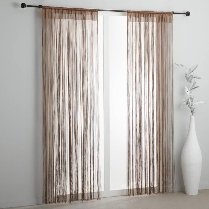 paire de rideaux a fils rideaux de porte 90 x 240 achat vente rideau de porte cdiscount. Black Bedroom Furniture Sets. Home Design Ideas